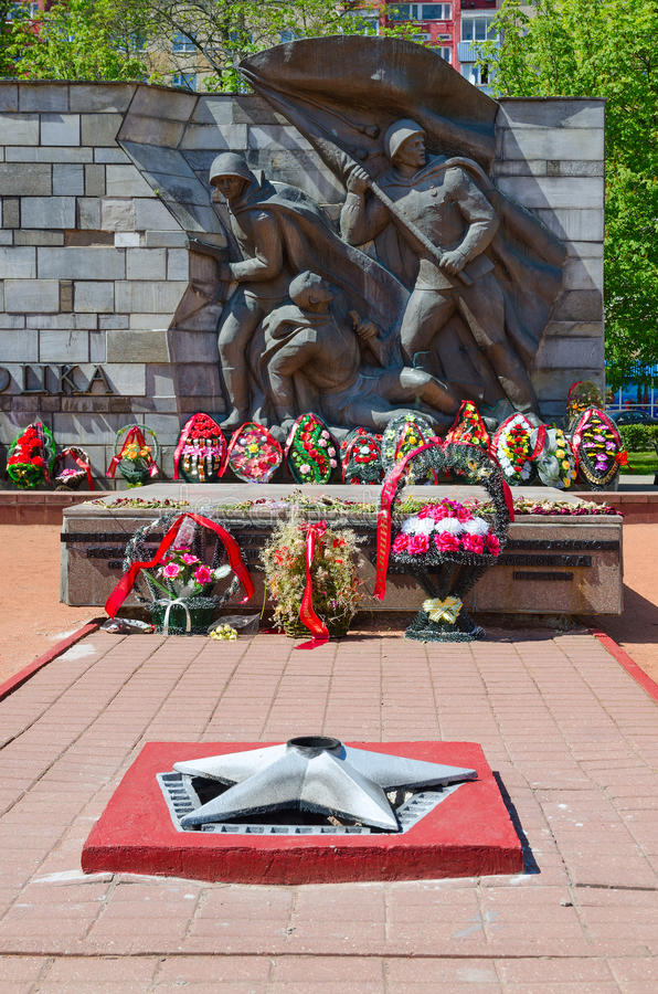 Fragment of Monument to Liberators of Polotsk, Belarus stock images