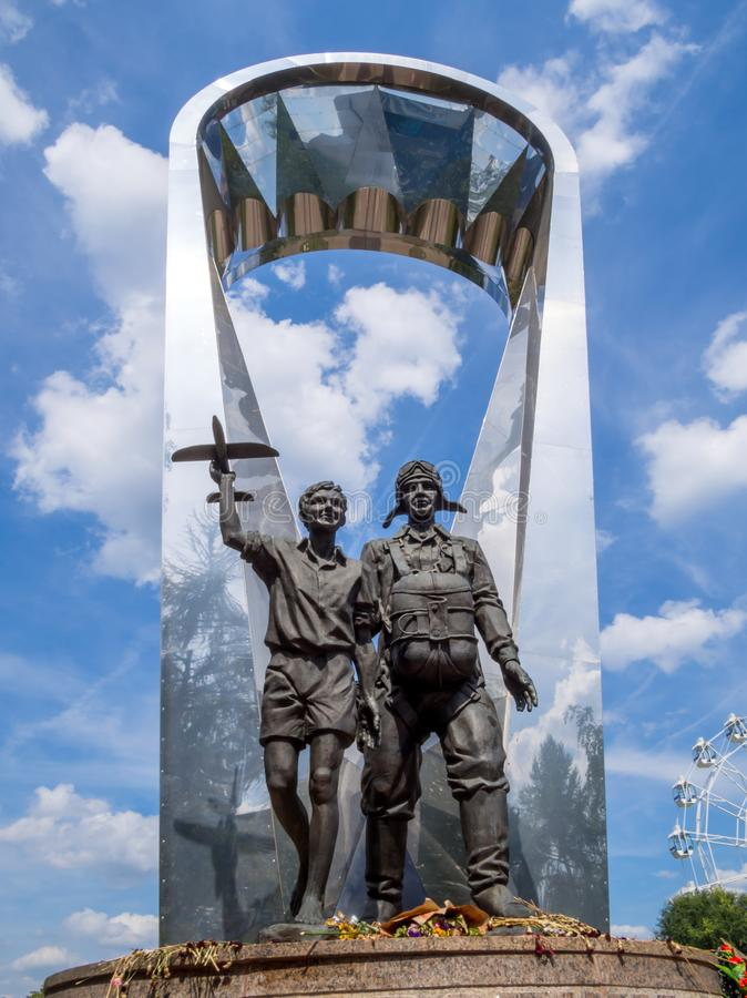 Fragment of the monument `Voronezh - the homeland of the Airborne Forces in the park` Arena `of the city of Voronezh stock photos