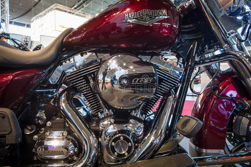 Fragment of a motorcycle Harley-Davidson Road King, 2016. stock photo