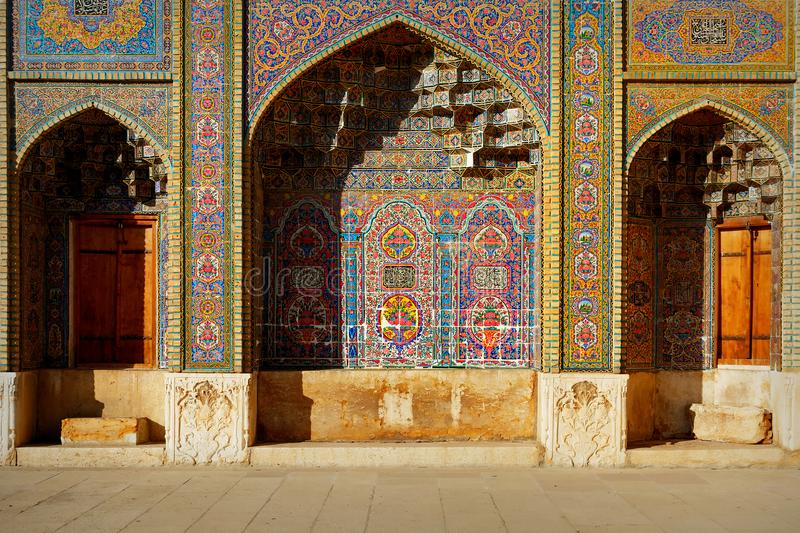 Fragment of a multi-colored Mosque Nasir al Mulk in Shiraz. Iran. Persia. Fragment of a multi-colored Mosque Nasir al Mulk in Shiraz. Iran. Persia royalty free stock photography
