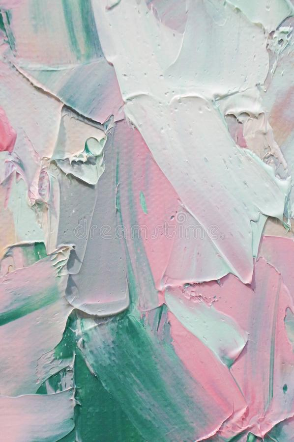 Fragment. Multicolored texture painting. Abstract art background. oil on canvas. Rough brushstrokes of paint. Closeup of a paintin stock photo