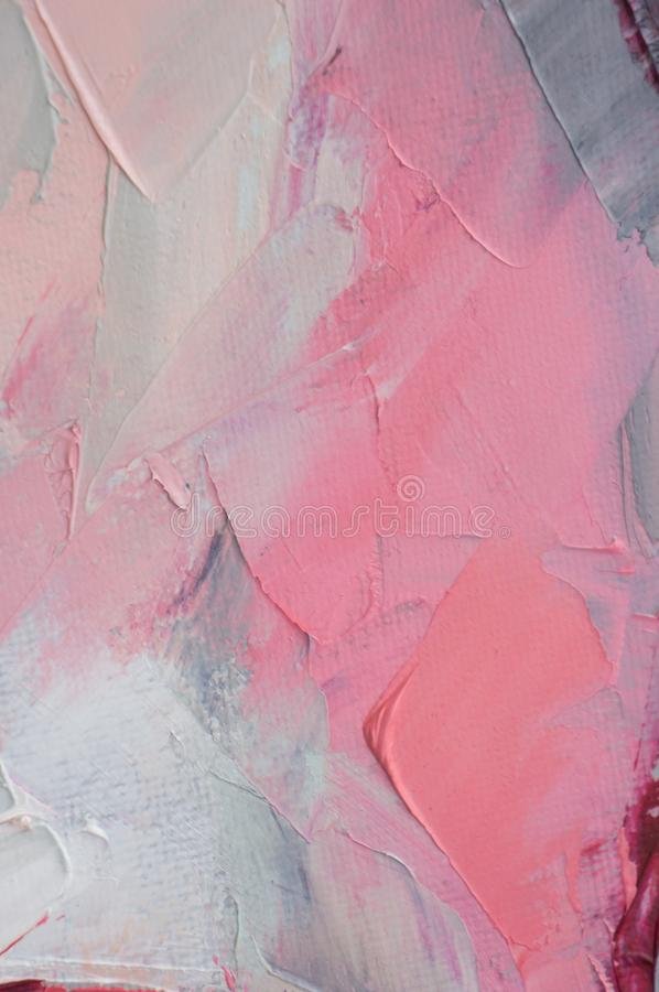 Transparent ethereal effect. Closeup of the painting. Highly-textured colorful abstract painting background. Fragment of multicolored texture painting oil on stock image