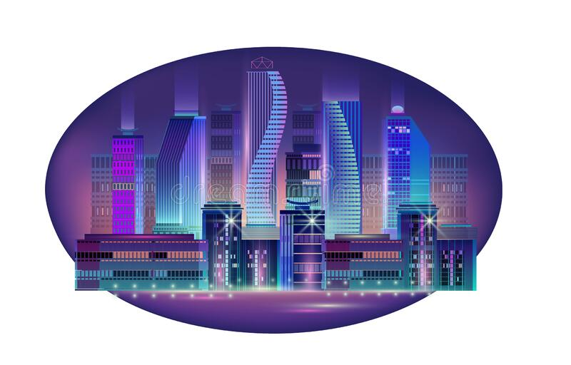 Fragment of a night panorama of a modern city. Vector. Night City skyline. Business district. Panorama with neon glow in twilight. Futuristic cityscape with stock illustration