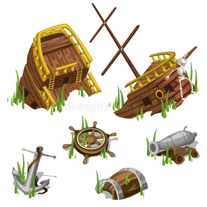 Fragment och delar av ett piratkopieraskepp vektor illustrationer