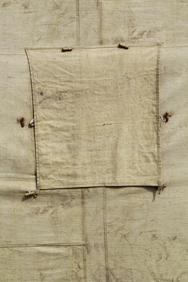Fragment of old military tents stock images