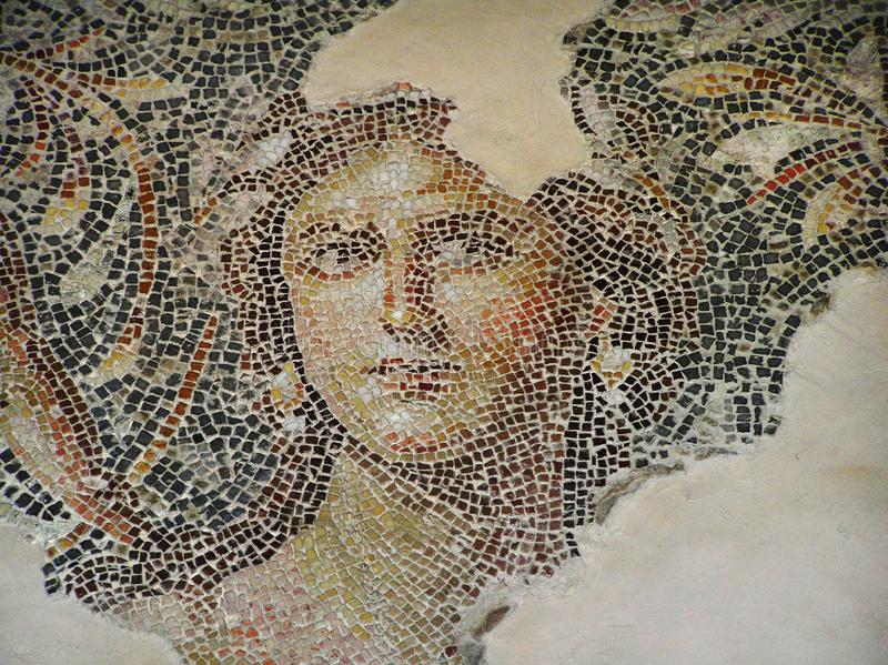 Fragment of a beautiful antique mosaic floor. Archaeological Park Zippori, Israel stock image