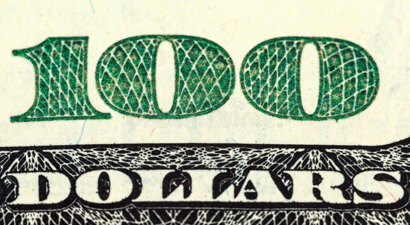 Fragment Of  One Hundred Dollar Bill Stock Images