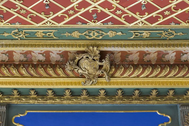 A fragment of ornamental decoration of the interior of the Pavilion Sofa in Topkapi Palace, Istanbul royalty free stock images