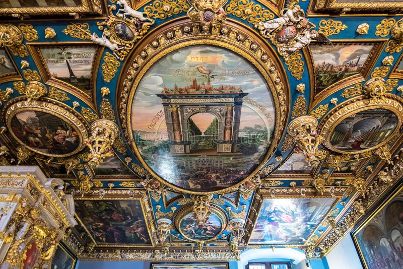 Fragment of painting the ceiling of the Great Hall of the Council. Gdansk, Poland royalty free stock photo