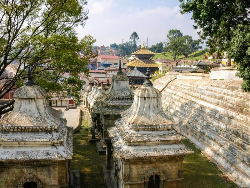 Fragment of the Pashupatinath temple complex, Kathmandu, Nepal royalty free stock photo