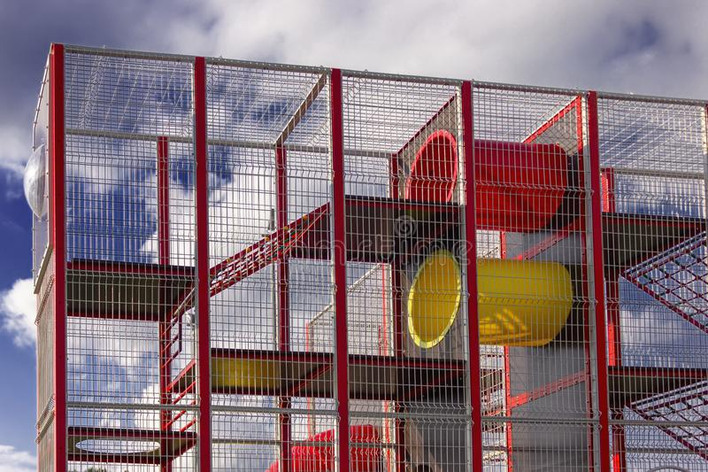 A fragment of a playground for children against the sky in a park royalty free stock photos