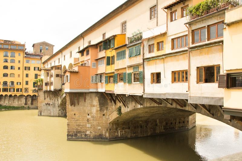 Fragment of Ponte Vecchio bridge over Arno river in Florence. Close up photo. Architecture and landmarks of Florence, Italy royalty free stock photo