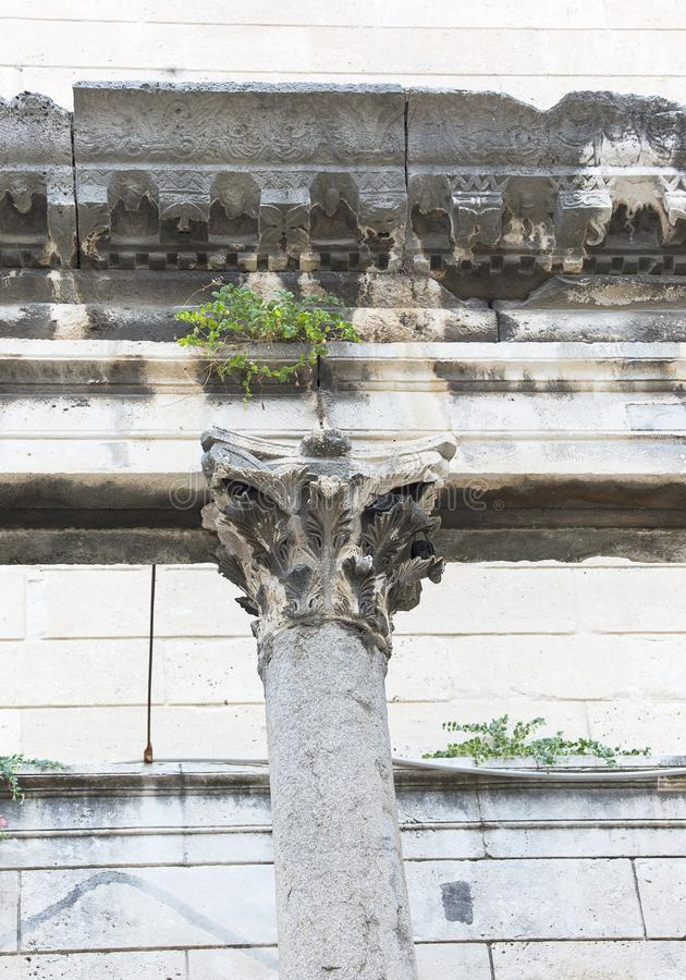 Fragment of the remains of the 3rd century Diocletian Palace, ancient decorative column,Split, Croatia royalty free stock images