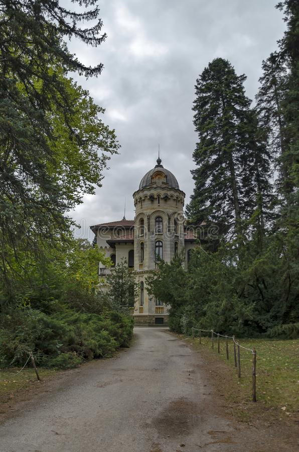 Fragment of restored Vrana Palace in National monument of old landscape architecture Park in former time royal residence on the. Fragment of restored Vrana royalty free stock photography
