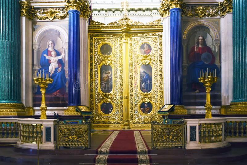 Fragment of rich decorated interior of ancient Saint Isaac`s orthodox cathedral stock photos
