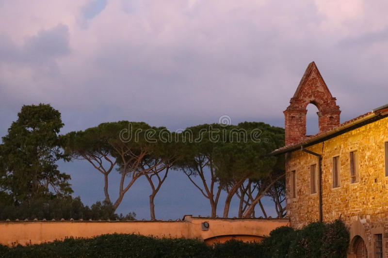 Fragment of the San Miniato al Monte Church with umbrella pines at dusk. Florence. Italy. royalty free stock photo