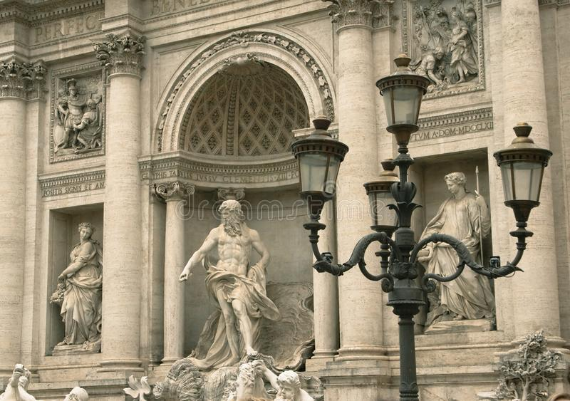 Fragment of the sculptural decoration of Trevi Fountain stock photo