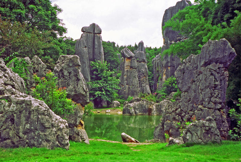 fragment of shilin - stone forest - near Kunming in Yunnan province, china stock photo