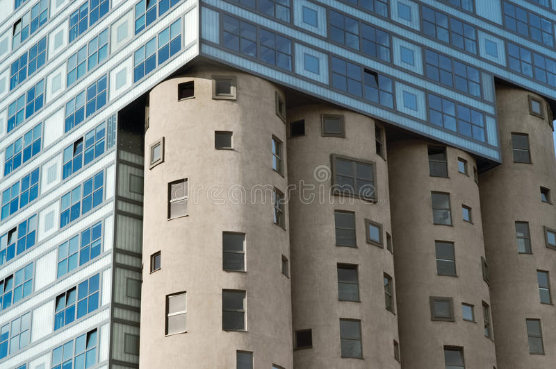 Fragment of the Silo building. Modern Architecture in Harburg, HH royalty free stock photography