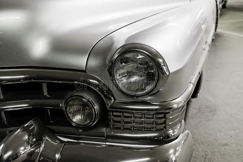 Fragment silver vintage car royalty free stock photo