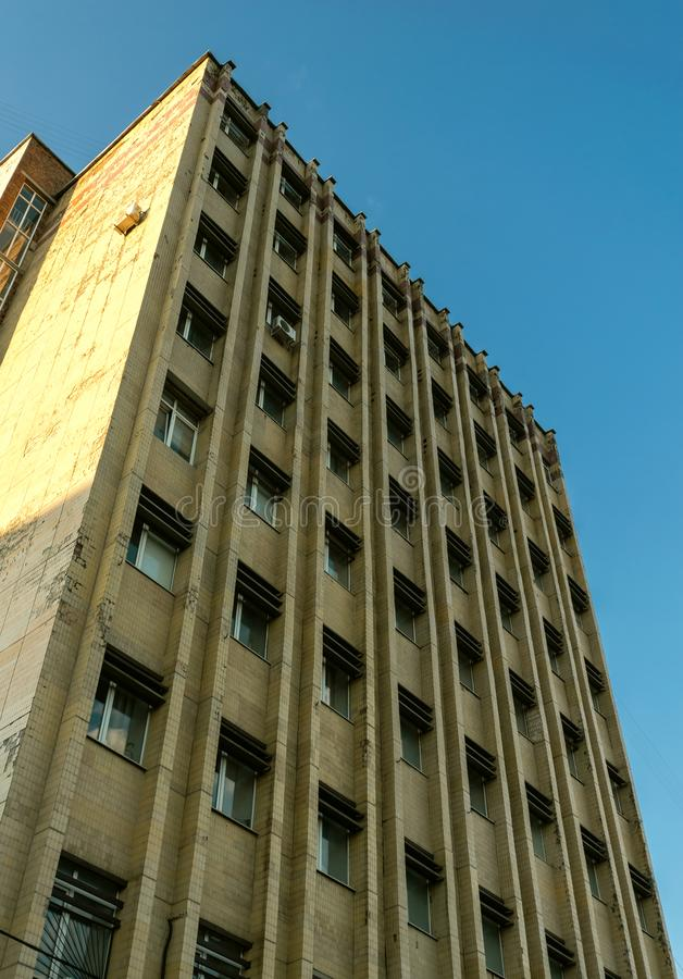 Fragment of soviet modernism brutalist building in Rostov-on-Don, Russia royalty free stock photography
