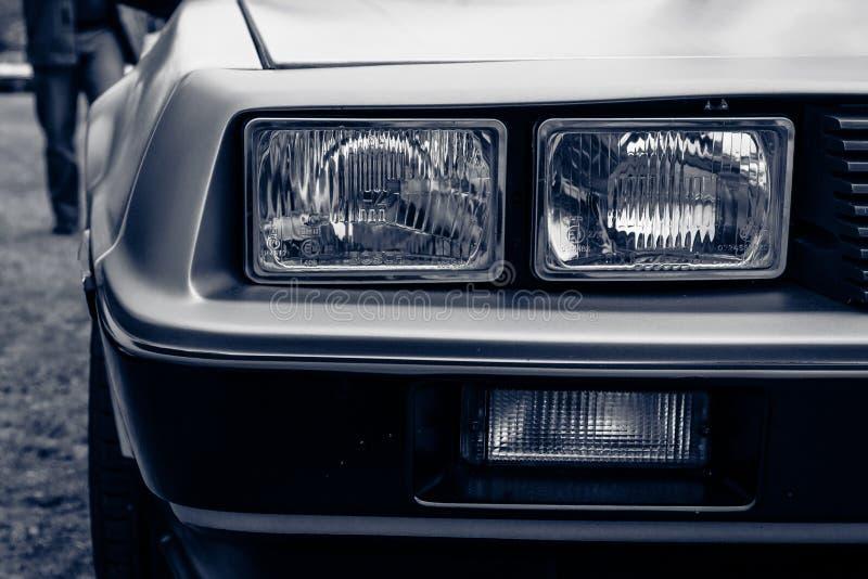 Fragment of a sports car DeLorean DMC-12 stock photo