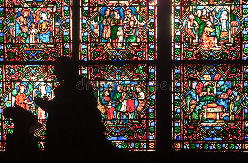 Download Fragment Of Stained Glass Windows. Notre Dame De P Stock Photo - Image: 18083766