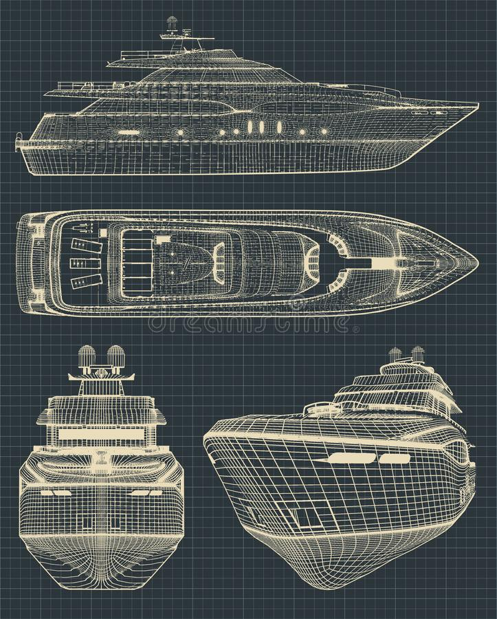 Drawings of a modern yacht vector illustration