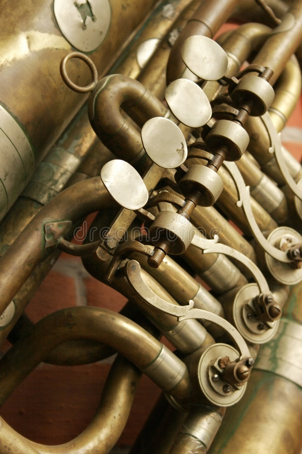 Fragment of an trumpet royalty free stock photo