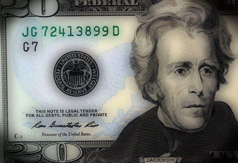 Fragment of Twenty Dollar Bill vector illustration