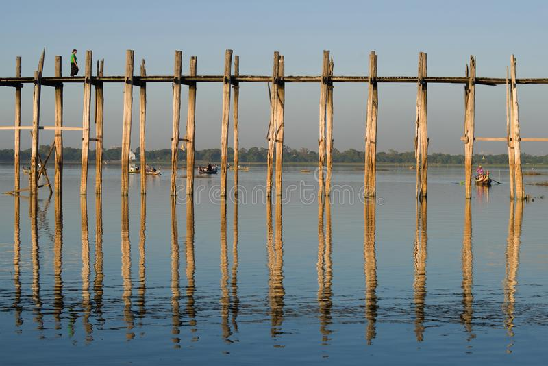Fragment of the U Bein bridge in a sunny day. Amarapura, Myanmar. Fragment of the U Bein bridge in a sunny day. Amarapura. Myanmar stock photos