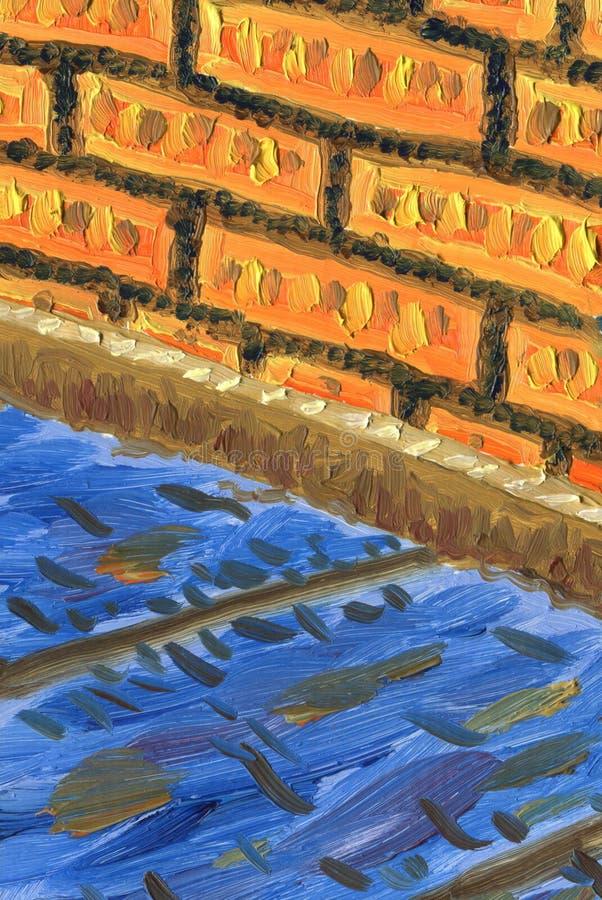 Fragment van binnenlandse, houten vloer en bakstenen muur vector illustratie