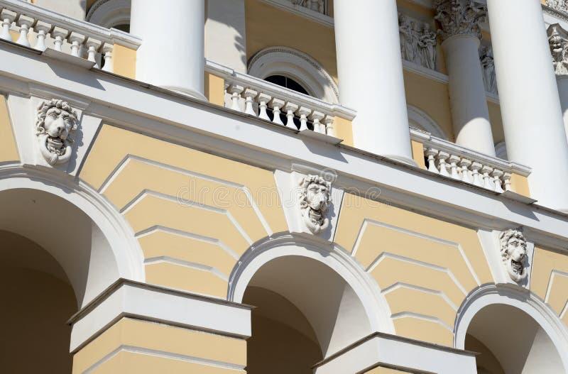 Fragment van de bouw van het Russische Museum van de Staat in St. Petersburg stock afbeelding