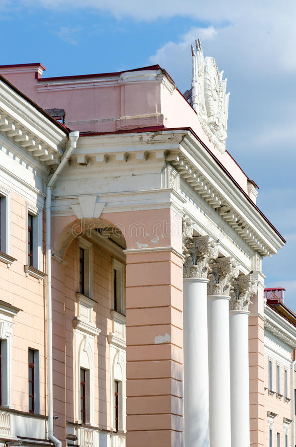 Fragment van de bouw van Staatsveiligheidcomité van Gomel-gebied, Wit-Rusland royalty-vrije stock afbeeldingen
