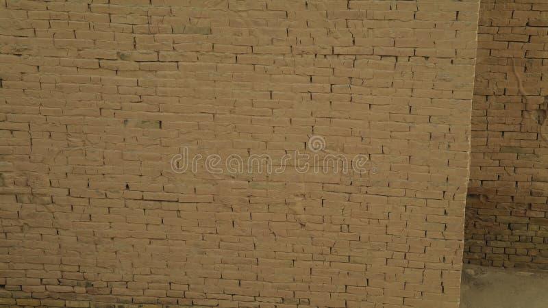 Fragment van de Muur van gedeeltelijk herstelde Babylon-ruïnes, Hillah, Irak stock foto's