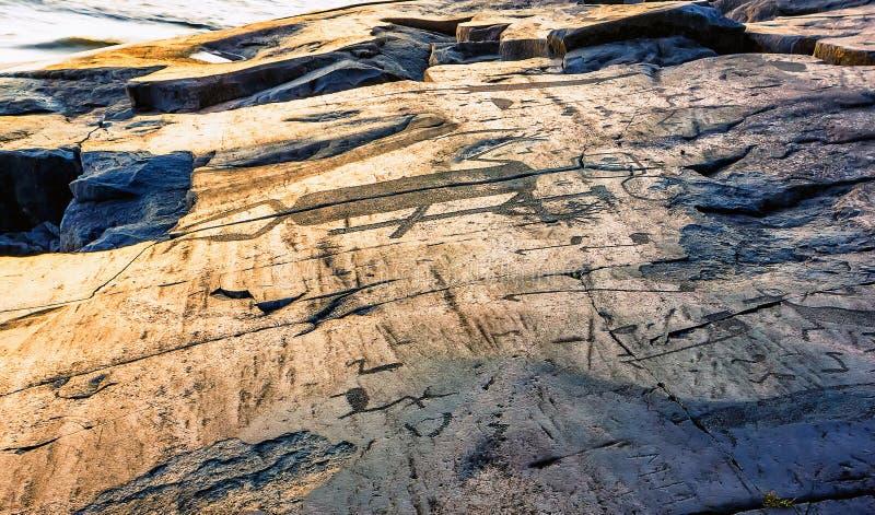 Fragment van de Rotstekeningen van Onega op de Kaap Besov Nrs. stock fotografie