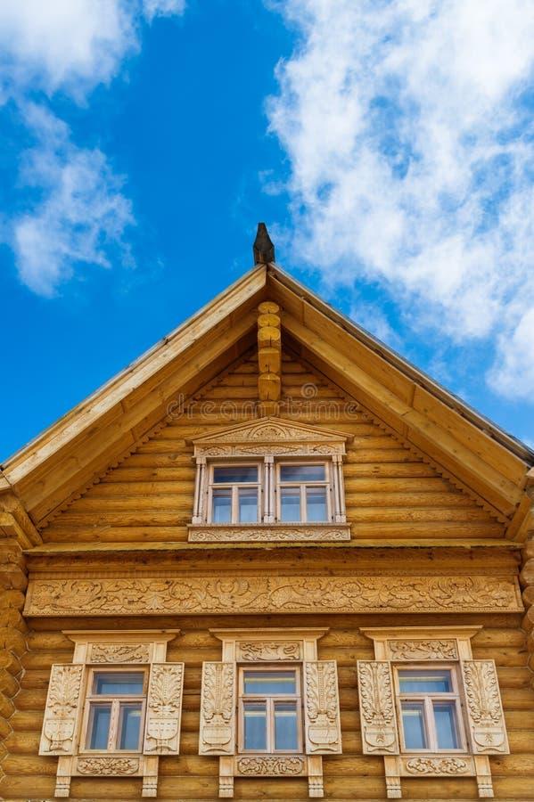 Fragment van een houten blokhuis royalty-vrije stock foto