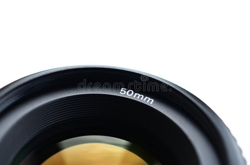 Fragment van een portretlens voor een moderne SLR-camera Een foto van een breed-openingslens met een brandpunts geïsoleerde lengt royalty-vrije stock foto