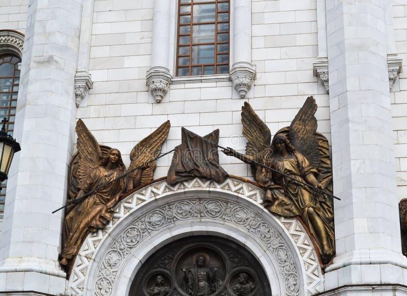 Fragment van extern meubilair van een Christelijke tempel van Christus van de Verlosser in Moskou royalty-vrije stock fotografie