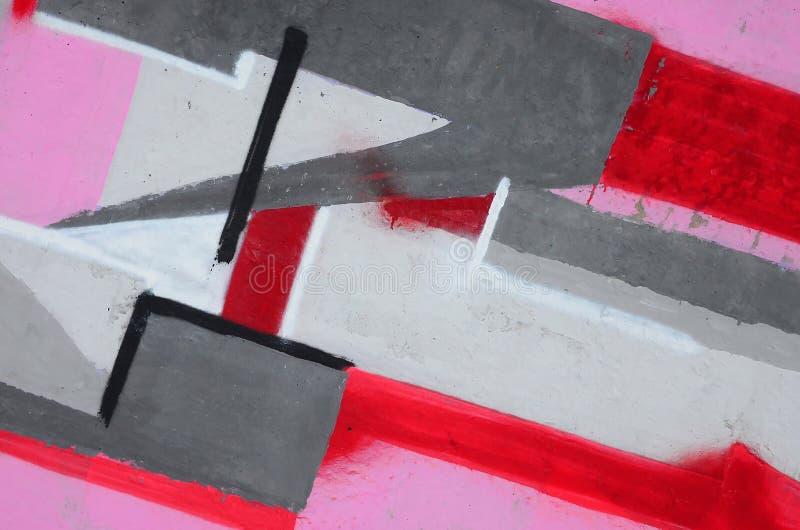 Fragment van gekleurde de graffitischilderijen van de straatkunst met contouren en dicht omhoog het in de schaduw stellen stock foto