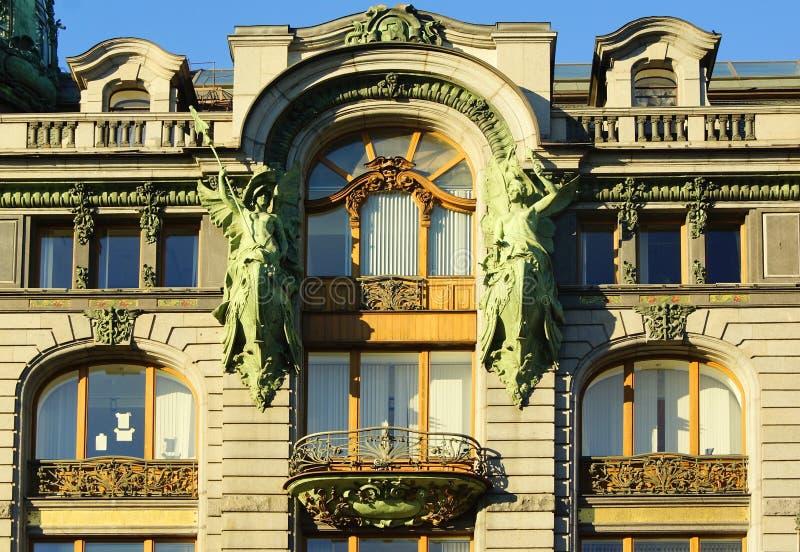 Fragment van het architectuurontwerp van de voorgevel in de Art Nouveau-stijl in de Zanger House royalty-vrije stock foto