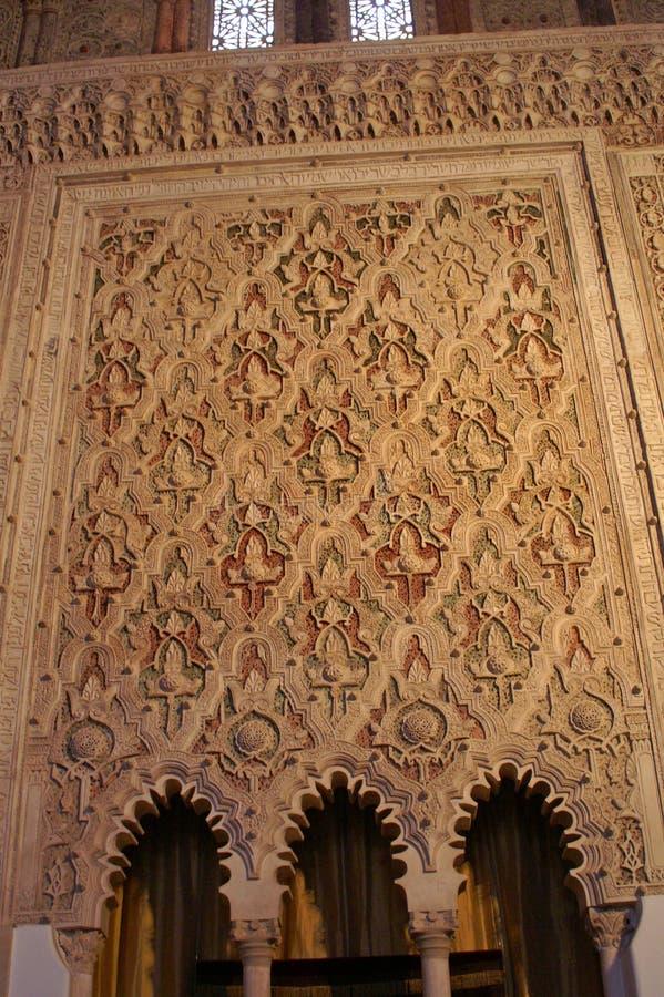 Fragment van het binnenland van de Katholieke Kathedraal in Spanje stock afbeeldingen