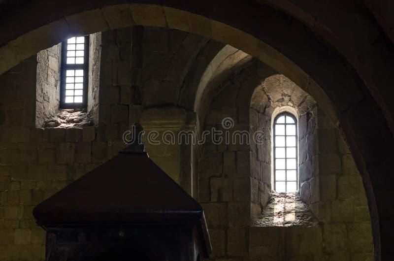 Fragment van het binnenland van het oude steenkasteel royalty-vrije stock foto