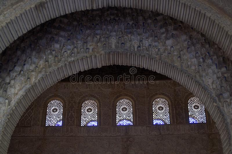 Fragment van het Moorse kasteel in Spanje stock foto