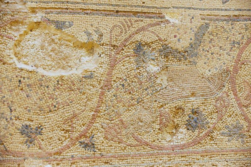 Fragment van het oude Roman vloermozaïek bij de ruïnes van de Heilige Stevens Church bij een archeologische plaats in Umm AR-Rasa royalty-vrije stock fotografie