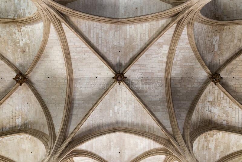 Fragment van het plafond in het gebouw, Binnenlands van het Lonja DE Palma gebouw in Palma de Mallorca, Spanje stock afbeeldingen