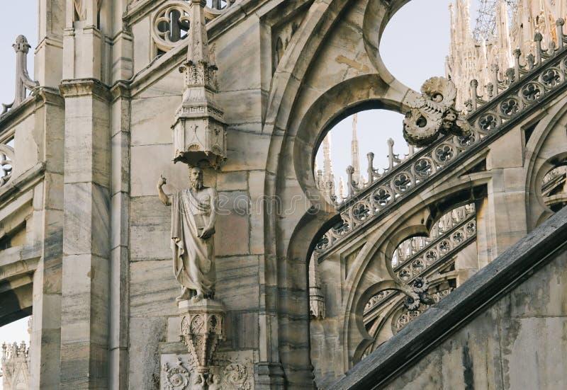 Fragment van Kathedraal Duomo in Milaan stock fotografie
