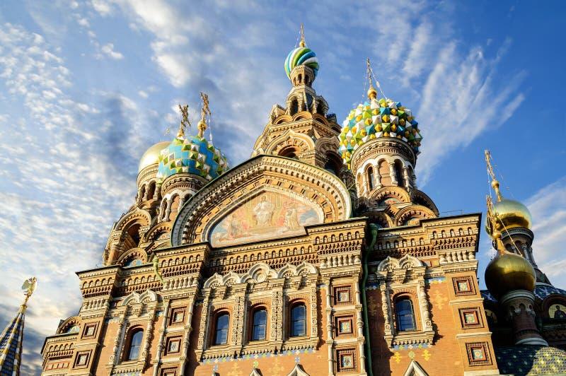Fragment van kathedraal van Onze Verlosser op Gemorst Bloed, St. Petersburg stock afbeelding