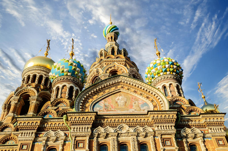 Fragment van kathedraal van Onze Verlosser op Gemorst Bloed, St. Petersburg royalty-vrije stock foto