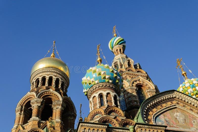 Fragment van kathedraal van Onze Verlosser op Gemorst Bloed, St. Petersburg stock fotografie
